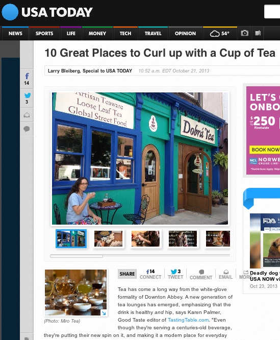 USA TODAY - 10 Great Places for Tea
