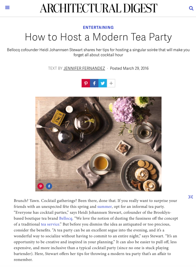 Architectural Digest - Modern Tea Party