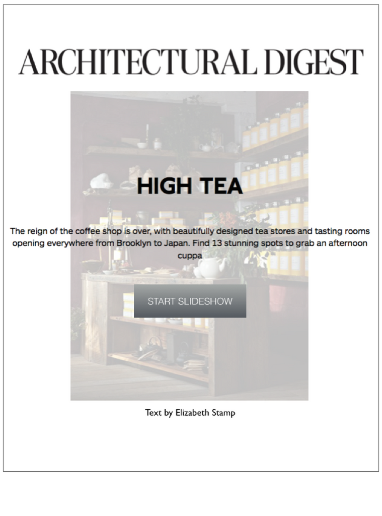 Architectural Digest - High Tea