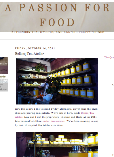 A Passion for Food - Bellocq Tea Atelier