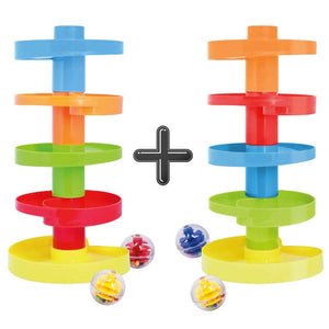 WEofferwhatYOUwant Educational Ball Drop Toy for Kids - Spinning Swirl Ball Ramp 2 Sets Activity Toy for Toddlers and Babies Safe for 9 Months and up. Double Ball Drop