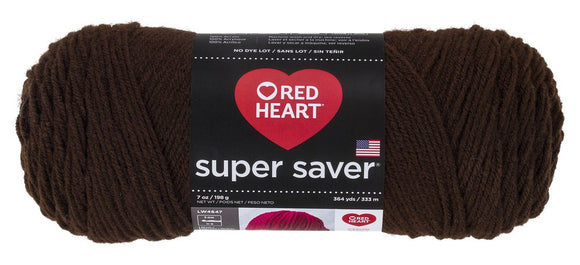 Red Heart Super Saver Yarn, Coffee Solid - Coffee Solids