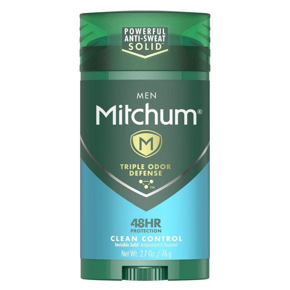 Mitchum Antiperspirant Deodorant Stick for Men, Triple Odor Defense Invisible Solid, 48 Hr Protection, Dermatologist Tested, Clean Control, 2.7 oz 2.7 Ounce