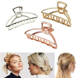 VinBee 3 PACK Large Metal Hair Claw Clips Hair Catch Barrette Jaw Clamp for Women Half Bun Hairpins for Thick Hair (Silver + Gold + Rose Gold) shape 1