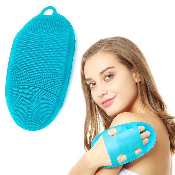 INNERNEED Soft Silicone Body Scrubber Exfoliating Glove Shower Cleansing Brush, SPA Massage Skin Care Tool, for Sensitive and All Kinds of Skin (Blue) 1st generation Blue