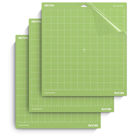 Nicapa StandardGrip Cutting Mat for Cricut Explore Air 2 Maker(12x12 inch,3 Pack) Standard Adhesive Sticky Green Quilting Cricket Cut Mats Replacement Accessories for Cricut green for Cricut 12*12 3pack
