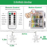 33 ft 80 LEDs Snowflake String Lights Battery Operated Outdoor Indoor Fairy Lights for Holiday Party Decor Patio Garden Bedroom with Remote Control Timer 8 Flash Mode LED Snowflake Lights