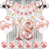 18th Birthday Decorations Banner Balloon, Happy Birthday Banner, 18th Rose Gold Number Balloons, Number 18 Birthday Balloons, 18 Years Old Birthday Decoration Supplies Sweet Eighteen Decorations