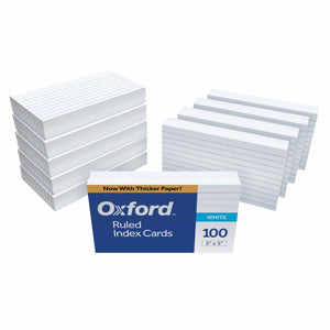 "Oxford Ruled Index Cards, 3"" x 5"", White, 1,000 Cards (10 Packs of 100) (31) 10"