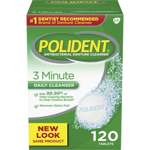 Polident 3 Minute Triple Mint Antibacterial Denture Cleanser Effervescent Tablets, 120 count 3 minute whitening