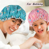 Unicorn Shower Caps, Double Layers Bath Hat for Women to Cover Long and Thick Hair, Reusable Waterproof Bonnet 4 Pack M