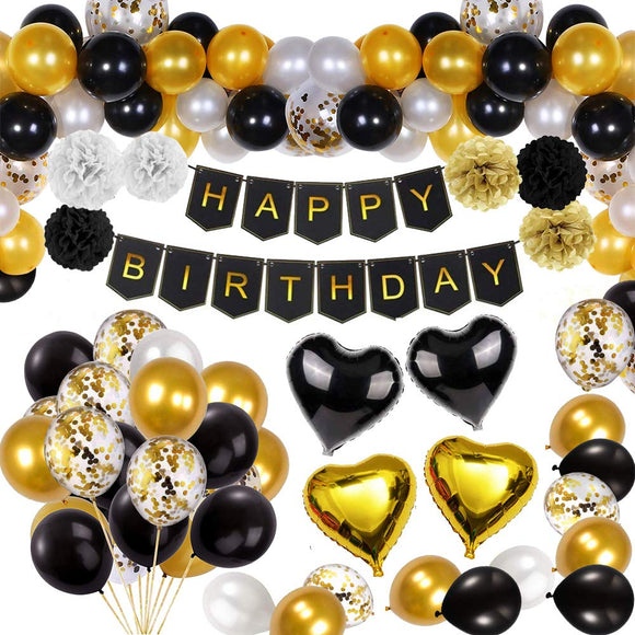 Black and Gold Party Decorations Happy Birthday Confetti Balloons with Banner,Star Heart Foil Balloons,Paper Pompoms for18th 20th 30th 40th 50th 60th 70th Birthday Decorat (Black and Gold) Black and Gold