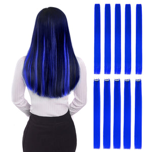 "Colored Clip in Hair Extensions 22"" 10pcs Straight Fashion Hairpieces for Party Highlights Blue 22""-10pcs"