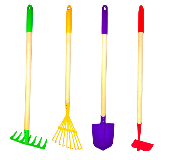 G & F Products JustForKids Kids Garden Tool Set Toy, Rake, Spade, Hoe and Leaf Rake, reduced size, 4-Piece Multicolored