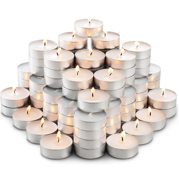 MontoPack Unscented White Tealight Candles Bulk (100) | Smokeless, Dripless, Long Lasting Burning Paraffin Tea Lights | Small Votive Mini Candles for Home, Pool, Shabbat, Weddings | Emergency Candles