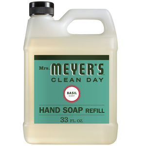 Mrs. Meyer's Clean Day Liquid Hand Soap Refill, Cruelty Free and Biodegradable Formula, Basil Scent, 33 oz