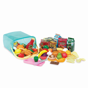Play Circle by Battat – Pantry in a Bucket – Pretend Play Food Set and Storage Container with Lid – Realistic & Durable Toy Kitchen Accessories for Kids Ages 3 and Up (79 Pieces), Multicolor (PC2210Z)