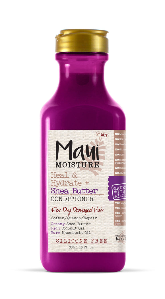 Maui Moisture Heal & Hydrate + Shea Butter Conditioner, 13 Ounce, Silicone Free Conditioner with Shea Butter and Coconut Oil, For Softer Feeling Hair with Less Visible Split Ends