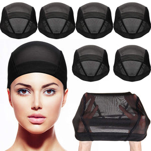 Dome Caps Stretchable Wigs Cap Spandex Dome Style Wig Caps For Men Women (8 Pack, Black Mesh Wig Caps)