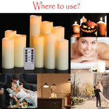 "HANZIM Flameless Candles Battery Operated Candles 4"" 5"" 6"" 7"" 8"" 9"" Set of 9 Ivory Real Wax Pillar LED Candles with 10-Key Remote and Cycling 24 Hours Timer (Ivory 9 Pack) Ivory 9 Pack"