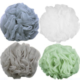 Goworth Large Bath Shower Sponge Pouf Loofahs 4 Packs 60g Each Eco-friendly Exfoliating Mesh Brush Pouf Bath Shower Ball Sponge 4 Colors-Exfoliate, Cleanse, Soothe Skin Pack of 4