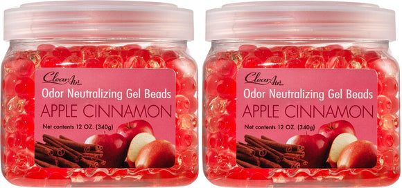 Clear Air Odor Eliminator Gel Beads - Eliminates Odors in Bathrooms, Cars, Boats, RVs and Pet Areas - Air Freshener Made with Natural Essential Oils - 2 Pack (2 x 12 OZ) (Apple Cinnamon) Apple Cinnamon