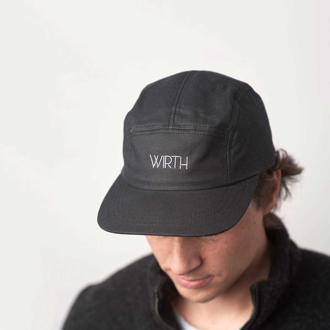 Black Oilskin Five Panel Cap