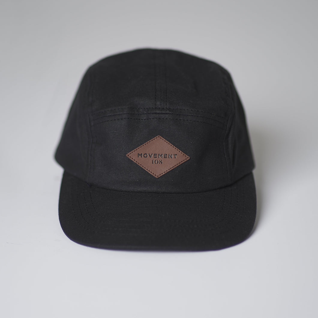 Movement108 Special Edition Collaboration - Black Oilskin/Wax Five Panel Cap