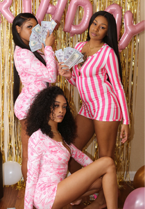 Pink Stripe & Money Baby Onesies