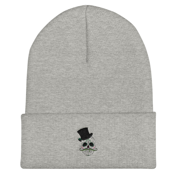 Day of the Dead Cuffed Beanie - Heather Grey