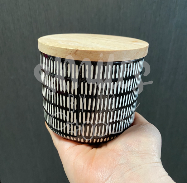 Jar of Thanks - Black and Cream Stripes Ceramic