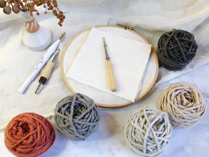 Adjustable punch needle start kit - Natural