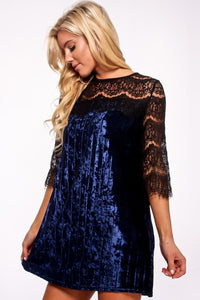 Blue Crushed Velvet and Lace Dress
