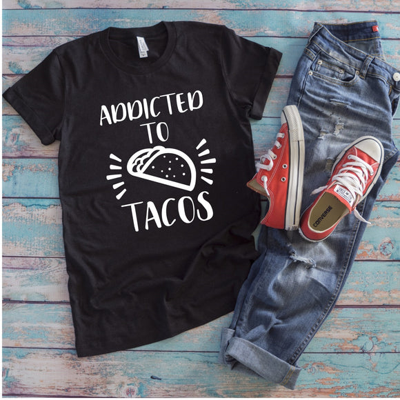 Addicted to Tacos T-Shirt - Charcoal Black