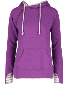 Ladies Stripe Double Hood Pullover - Heather Hyacinth