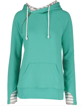 Ladies Stripe Double Hood Pullover - Heather Seaglass