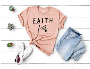 Faith over Fear T-Shirt - Peach