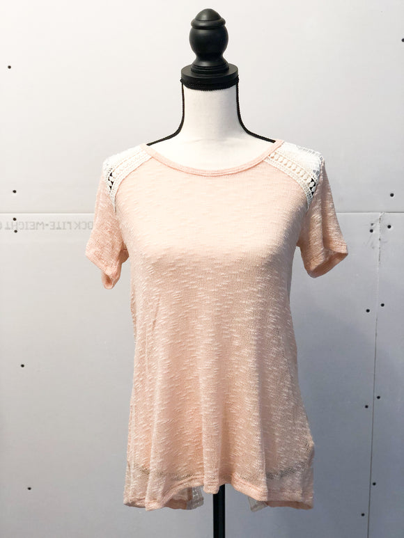 Plus Size Nude Knit Top with Lace Details on shoulders and back
