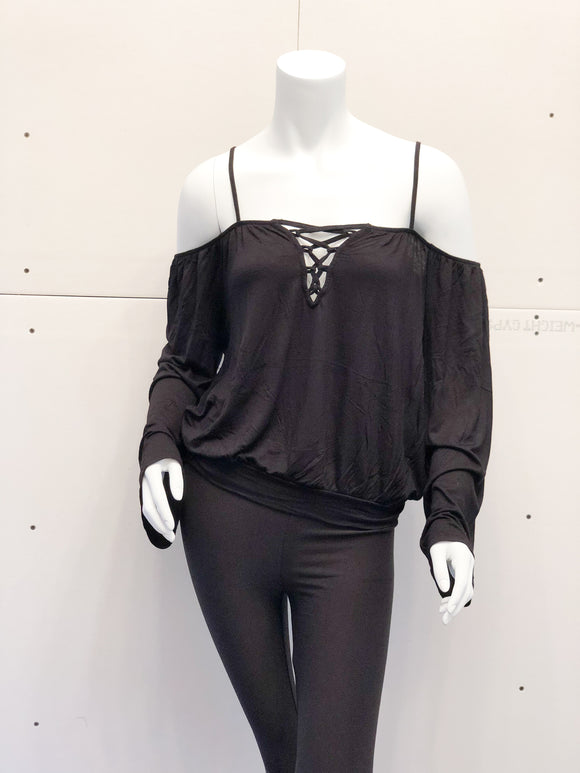 Black Spaghetti Strap Cold Shoulder Top