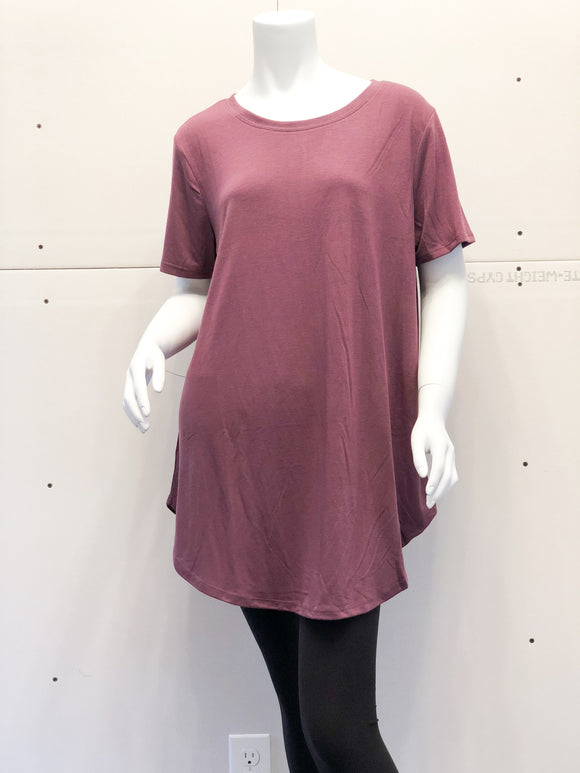Plus Size Eggplant Short Sleeve Top
