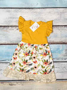 Girls Mustard and Floral Dress