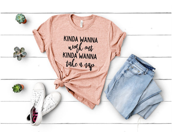 Kinda Wanna Workout, Kinda Wanna Take a Nap T-shirt - Peach