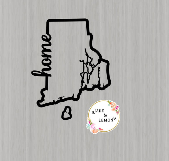 Rhode Island home vinyl decal