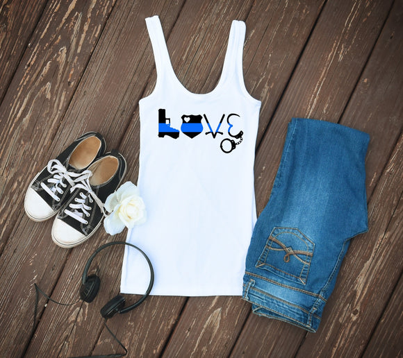 Thin Blue Line Police Tank Top - White