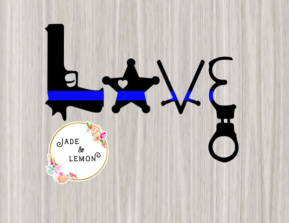 Thin Blue Line Love Deputy Decal - Style 2