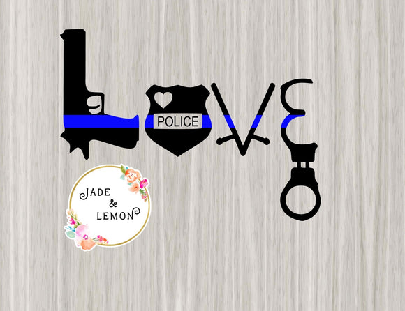 Thin Blue Line Love Police Decal - Style 2