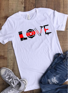 "Thin Red Line Firefighter ""Love"" Tee - White"