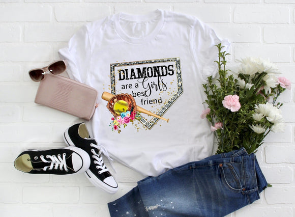 Diamonds Are a Girls Best Friend ~ Softball Tee