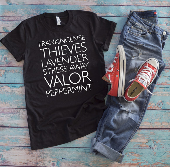 Essential Oils - Frankincense, Thieves, Lavender, Stress Away, Valor, Peppermint T-Shirt - Charcoal Black