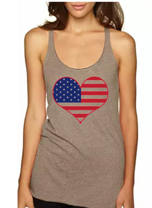 American Flag Heart Racerback Tank Top - Women's